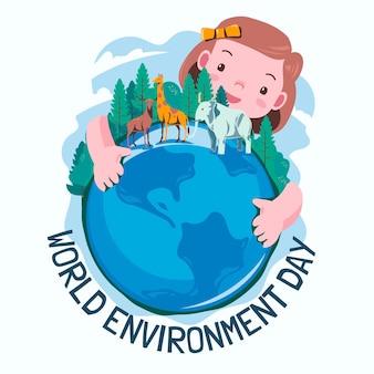 Biologische platte wereldmilieudag redt de planeetillustratie