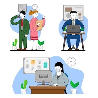 Biologische platte werkdag scène illustratie