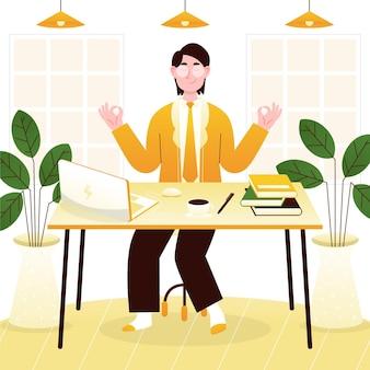 Biologische platte zakenman mediteren