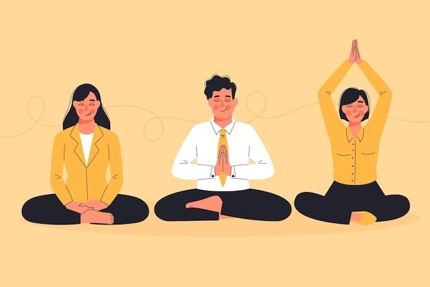 Biologische platte zakenmensen mediteren pack Premium Vector