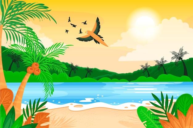 Biologische platte zomer achtergrond voor videocalls