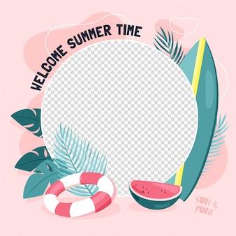 Biologische platte zomer facebook frame sjabloon