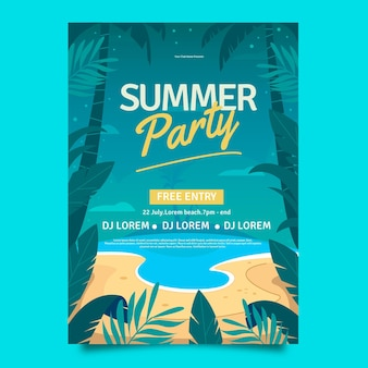 Biologische platte zomer partij verticale poster sjabloon
