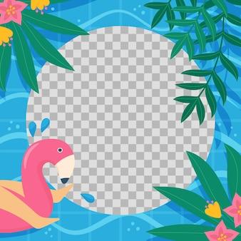 Biologische platte zomer social media frame sjabloon