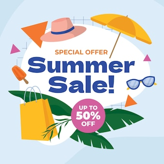 Biologische platte zomer verkoop illustratie