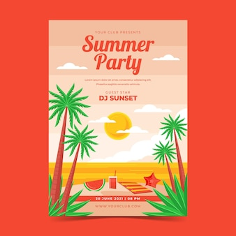 Biologische platte zomer verticale partij poster sjabloon