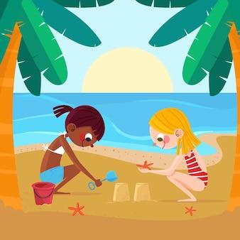 Biologische platte zomerscène illustratie
