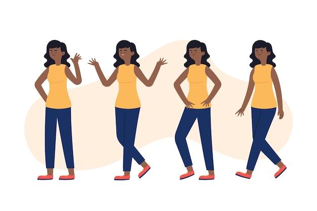 Biologische platte zwarte meisje illustratie in verschillende poses