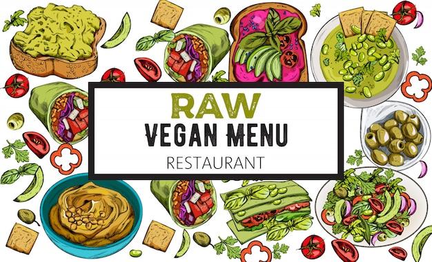 Biologische set van rauw veganistisch eten. hummus, slag en avocadotoost, broodjes, olijven, lasagne, salade