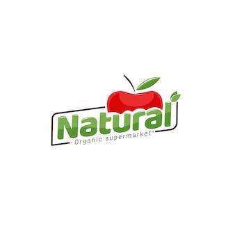 Biologische supermarkt logo-ontwerp