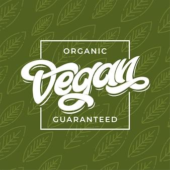 Biologische vegan gegarandeerde typografie.