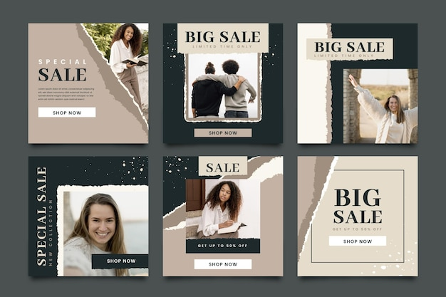 Biologische verkoop instagram posts-collectie