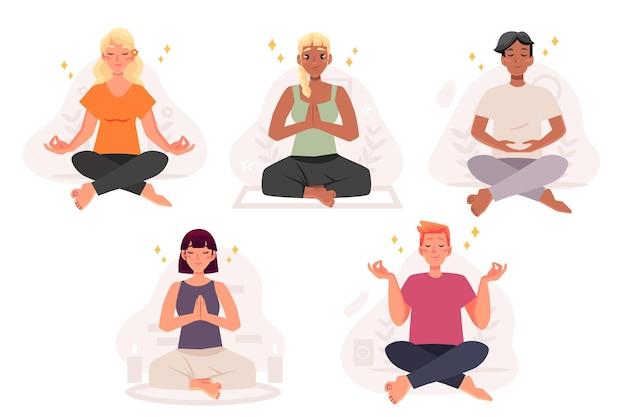 Biologische vlakke afbeelding mensen mediteren Gratis Vector