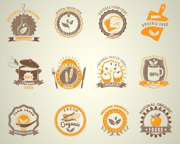 Biologische voeding vintage stijlset etiketten