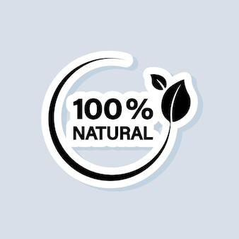 Biologische voedingsmiddelen sticker. 100 procent natuurlijk icoon. organisch teken. vector op geïsoleerde achtergrond. eps-10.