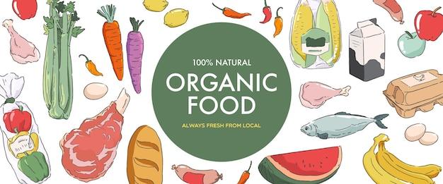 Biologische voedselbanner kruidenierswinkel concept illustratie