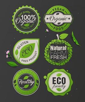 Biologische voedseletiketten en badges. biologisch product, winkel, restaurant, veganistisch café, vegetarisch restaurant, logolabel, ecologie, glutenvrij eten.