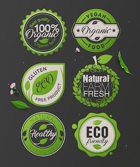 Biologische voedseletiketten en badges-sjabloon