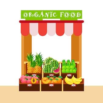 Biologische voedselmarkt met vers fruit natuurlijke gezonde producten concept