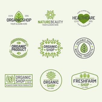 Biologische winkel en verse boerderij logo set lijnstijl geïsoleerd