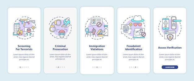 Biometrisch gebruik onboarding mobiele app-paginascherm met concepten.