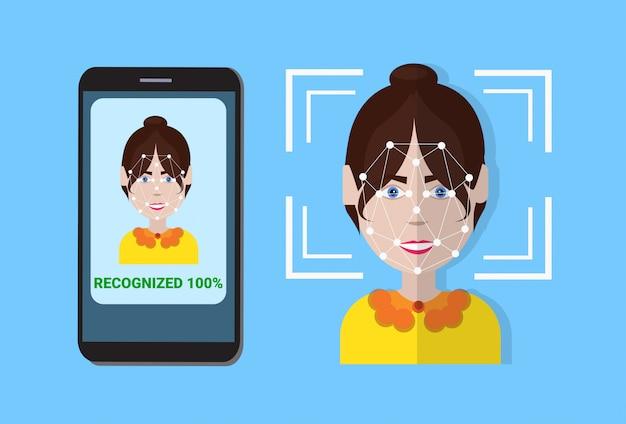 Biometrisch scansysteem van controlebeveiliging slimme telefoonscan gebruikersgezicht, gezichtsherkenningstechnologieconcept