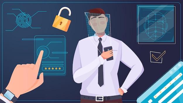 Biometrische identificatie van gezicht en vingerafdruk om toegang te krijgen tot persoonlijke informatie, platte compositieillustratie