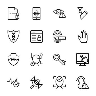 Biometrische lijn iconen pack