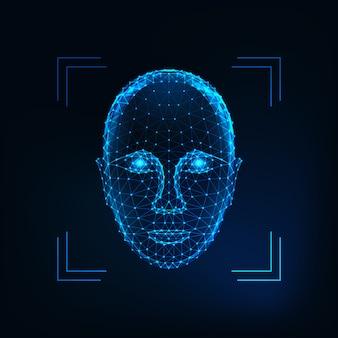 Biometrische persoonsidentificatie, gezichtsherkenningsconcept. futuristisch laag veelhoekig menselijk gezicht
