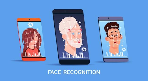 Biometrische scannen gezichtsherkenning systeemconcept set van moderne slimme telefoons toegangscontrole technolgy