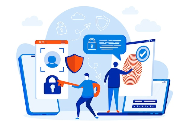 Biometrische toegangscontrole webdesign met mensen karakters illustratie