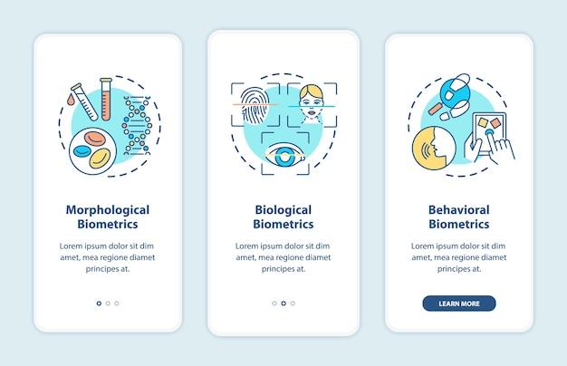 Biometrische typen onboarding mobiele app-paginascherm met concepten.