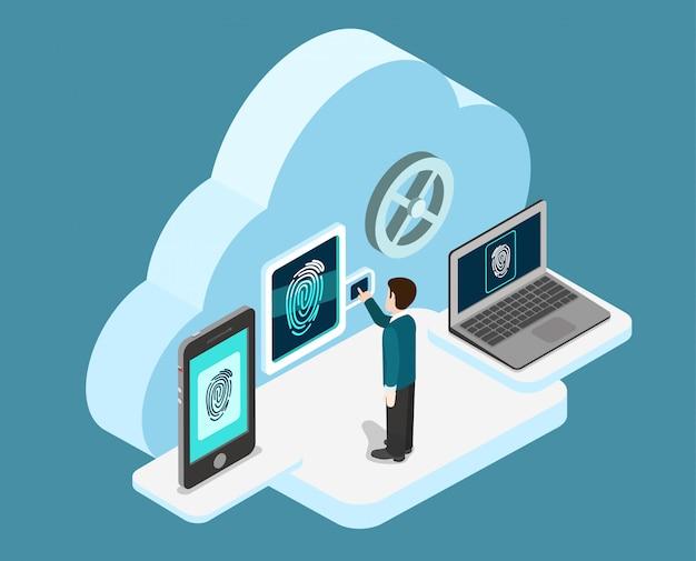 Biometrische vingerafdruk identificatie internet beveiliging cloud authenticatie veilige data toegang concept isometrische illustratie.