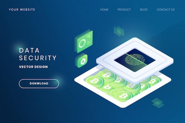 Biometrische vingerafdrukscanner voor websitesjabloon voor gegevensbeveiliging