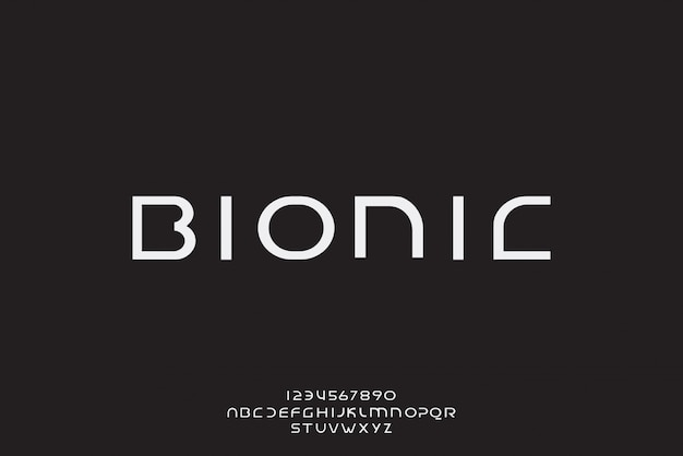 Bionic, een abstract futuristisch alfabetlettertype met technologiethema. modern minimalistisch typografieontwerp