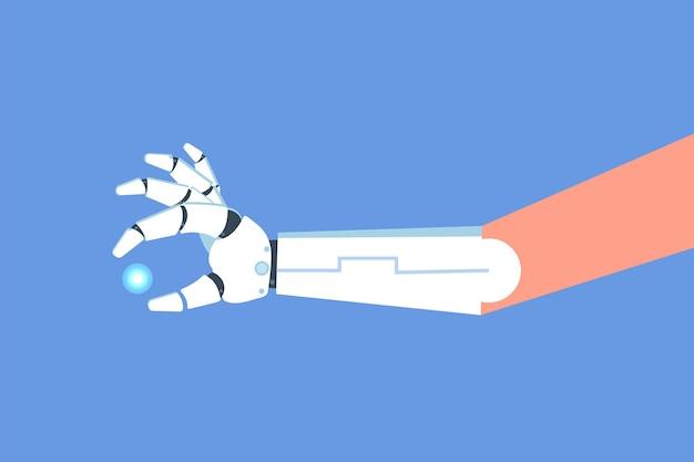 Bionische arm of robot mechanische hand, prothese concept. vector geïsoleerde illustratie