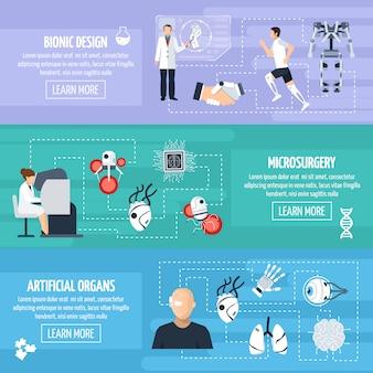 Bionische technologie horizontale banners