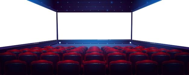 Bioscoop, bioscoopzaal met wit scherm en rijen rode stoelen achteraanzicht.