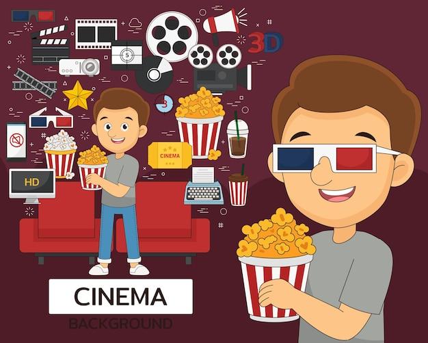Bioscoop concept achtergrond. platte pictogrammen.