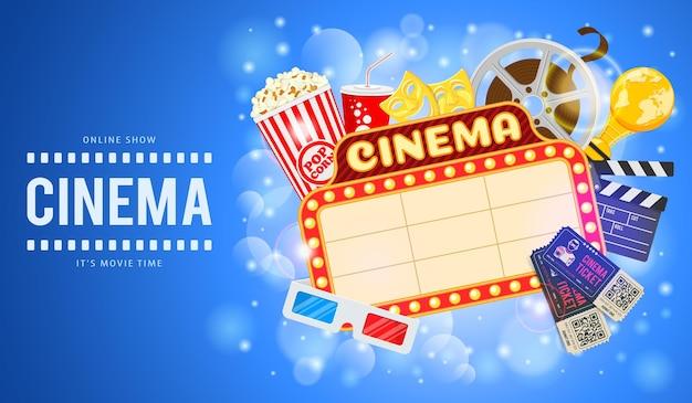 Bioscoop en filmtijd banner met plat pictogrammen film, popcorn, uithangbord, 3d-bril, onderscheiding en kaartjes.