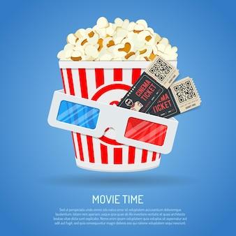 Bioscoop- en filmtijd met platte popcorn, 3d-bril en kaartjes.