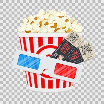 Bioscoop- en filmtijdbanner met vlakke pictogrammenpopcorn, 3d glazen en kaartjes