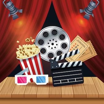 Bioscoop entertainment met set pictogrammen illustratie