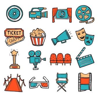 Bioscoop icons set kleur