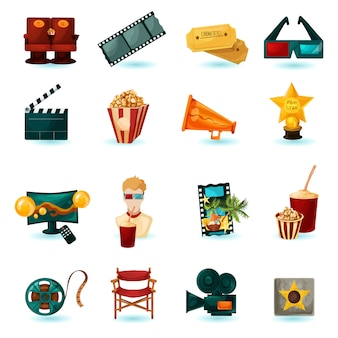 Bioscoop icons set