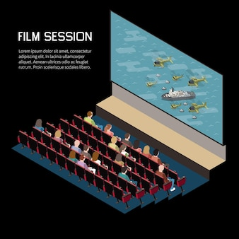Bioscoop isometrische compositie met binnenaanzicht van auditorium kijken naar film met stoelen scherm en bewerkbare tekst