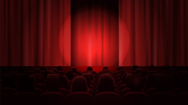 Bioscoop met gordijnen en publiek.