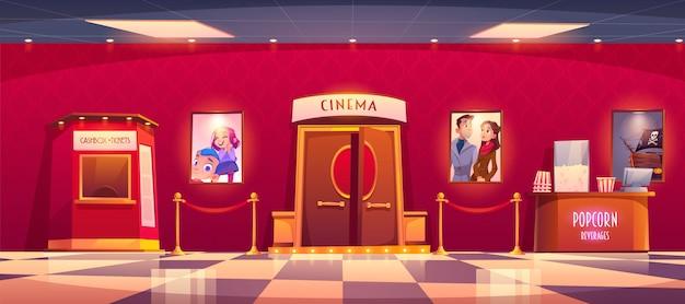 Bioscoop met kassa en toonbank met popcorn