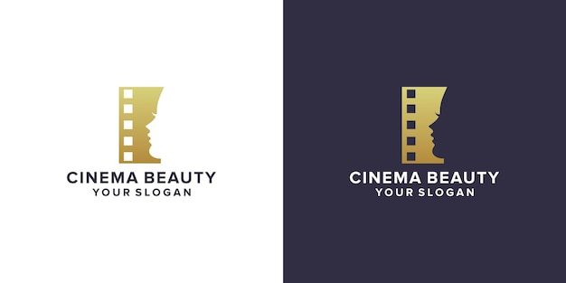 Bioscoop met logo-ontwerp voor schoonheidsgezicht