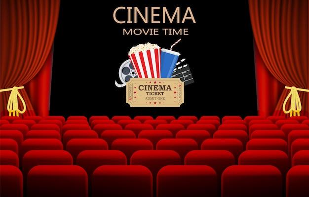 Bioscoop met rij rode stoelen